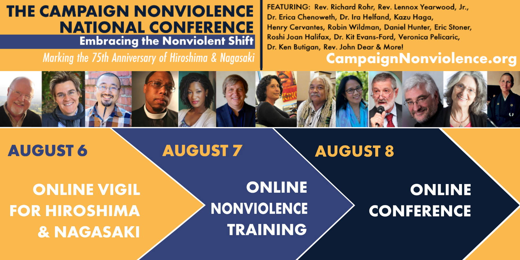 All you need to know about the Campaign Nonviolence Conference events August 6-8, 2020